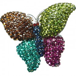 Cute Bold Costume Jewellery, Fashion Fun Winter Theme Multi Colour Diamante Pave Chunky Butterfly Large Statement Ring