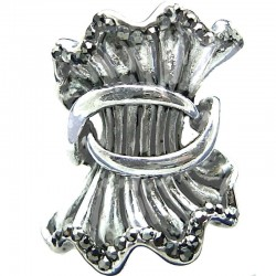 Marcasite Chunky Wavy Wave Large Statement Vintage Silver Plated Ring