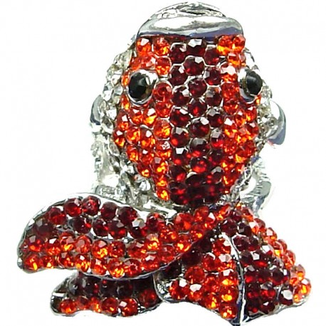 Fun Cute Costume Jewellery, Fashion Bold Orange & Red Diamante Pave Chunky Goldfish Large Statement Ring