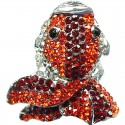 Orange & Red Diamante Pave Chunky Fortune Goldfish Large Statement Ring