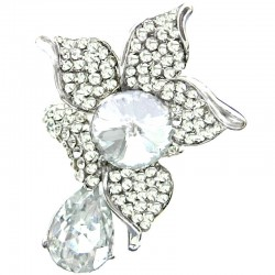 Clear Diamante Rhinestone Large Flower Statement Ring