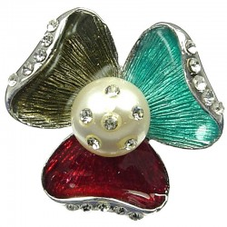 Summer Theme Multi-Colour Enamel Sego Lily Large Three Petal Flower Statement Ring