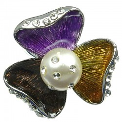 Autumn Theme Multi-Colour Enamel Sego Lily Large Three Petal Flower Statement Ring
