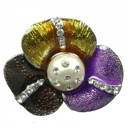 Fashion Costume Jewellery, Multi Coloured Enamel Mariposa Lily Large Three petal Flower Statement Ring