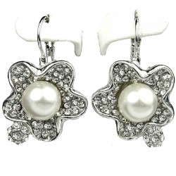 Clear Diamante White Pearl Flower Earrings