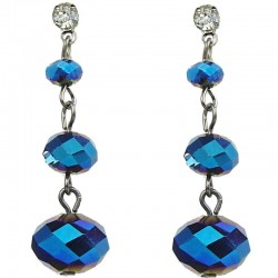 Simple Costume Jewellery, Triple Royal Blue Faceted Linear Bead Fashion Drop Earrings