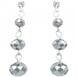 Simple Fashion Jewellery, Triple Silver Faceted Linear Bead Costume Drop Earrings