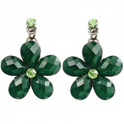 Floral Costume Jewellery, Fashion Women's Green Rhinestone Daisy Flower Drop Earrings