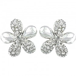 Fashion Costume Jewellery, Women's Gift, Clear Diamante Silver Flower Large Stud Earrings