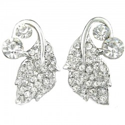 Bridal Costume Jewellery, Wedding Gift, Fashion Clear Diamante Silver Leaf Large Stud Earrings