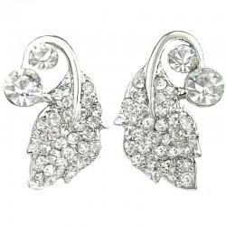 Bridal Costume Jewellery, Wedding Gift, Fashion Clear Diamante Silver Leaf Large Stud Earrings