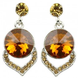 Brown Rhinestone Droplet Dress Earrings