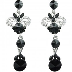 Black Rhinestone Wave Statement Long Drop Earrings
