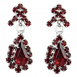 Bridal Costume Jewellery, Wedding Gift, Fashion Red Diamante Wave Dangling Teardrop Earrings