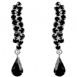 Fashion Bridal Jewellery, Wedding Gift, Black Diamante wave Teardrop Costume Earrings
