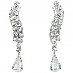 Fashion Bridal Jewellery, Wedding Gift, Clear Diamante wave Teardrop Costume Earrings