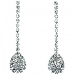 Brial Costume Jewellery, Wedding Gift, Bib Clear Diamante Dripping Pave Teardrop Dress Drop Earrings