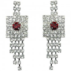 Bib Bridal Jewellery, Fashion Wedding gift, Red & Clear Diamante Geometric Tassel Drop Earrings