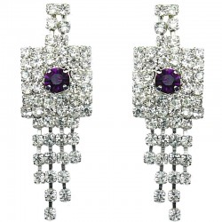 Purple & Clear Diamante Geometric Tassel Drop Earrings