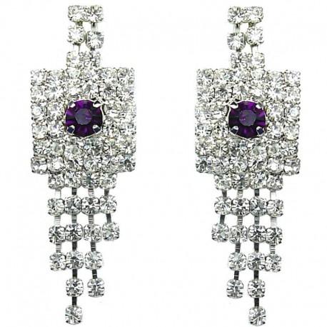 Bib Fashion Wedding Bridal Jewellery, Purple & Clear Diamante Geometric Tassel Costume Drop Earrings