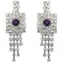 Purple & Clear Diamante Geometric Tassel Drop Earrings