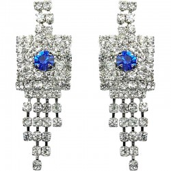 Royal Blue & Clear Diamante Geometric Tassel Drop Earrings