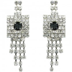 Black & Clear Diamante Geometric Tassel Drop Earrings