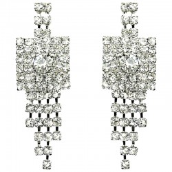 Clear Diamante Geometric Tassel Drop Earrings
