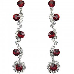 Bib Dressy Costume Jewellery, Red Rhinestone Clear Diamante Twinkle Fashion Long Drop Earrings