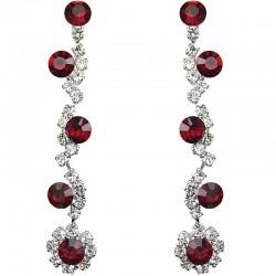 Bib Dressy Costume Jewellery, Red Rhinestone Clear Diamante Twinkle Fashion Long Drop Earrings