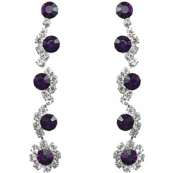 Purple Rhinestone Clear Diamante Twinkle Long Drop Earrings