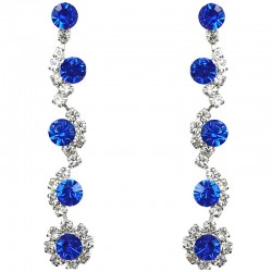 Bib Dressy Fashion Jewellery, Royal Blue Rhinestone Clear Diamante Twinkle Costume Long Drop Earrings