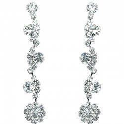 Dressy Costume Jewellery, Bib Clear Rhinestone Diamante Twinkle Fashion Long Drop Earrings