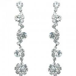 Dressy Costume Jewellery, Bib Clear Rhinestone Diamante Twinkle Fashion Long Drop Earrings