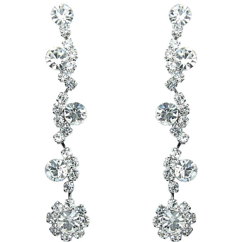 crystal dp earrings tear fab dangle diamante drop bling clear