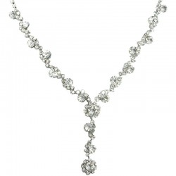 Bib Bridal Jewellery, Fashion Wedding Gift, Clear Rhinestone Diamante Twinkle Y-Shaped Drop Necklace