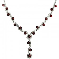 Dressy Costume Jewellery, Fashion Red Rhinestone Clear Diamante Twinkle Y-Shaped Drop Necklace