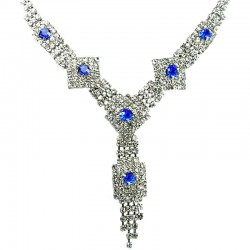 Bib Bridal Jewelley, Royal Blue & Clear Diamante Geometric Dressy Fashion Tassel Necklace
