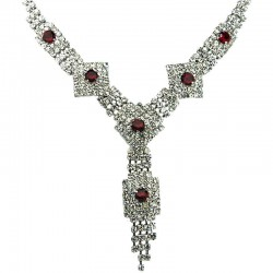 Bib Bridal Costume Jewellery, Chic Red & Clear Diamante Geometric Fashion Dressy Tassel Necklace