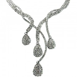 Modern Costume Jewellery, Bridal Wedding Gift, Clear Diamante Cascade Teardrop Wave Bib Dress Necklace