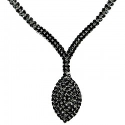 Chic Fashion Bib Costume Jewellery, Black Diamante Dangle Teardrop Dress CostumeNecklace