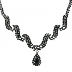 Black Diamante Wave Dangling Teardrop Necklace