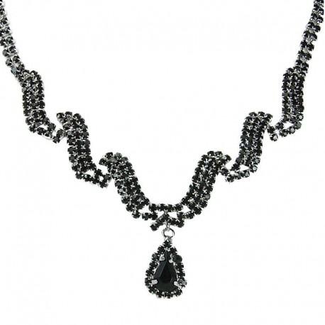 Black Diamante Wave Dangling Teardrop Necklace