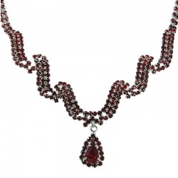 Bridal Costume Jewellery, Wedding Gift, Fashion Red Diamante Wave Dangling Teardrop Necklace