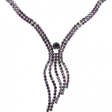 Fashion Women's Gift, Bib Costume Bridal Jewellery, Purple Diamante Elegant Wave Drop Dress Necklace