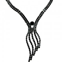 Women's Gift, Fashion Bridal Bib Costume Jewellery, Black Diamante Elegant Wave Drop Dress Necklace