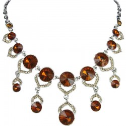 Brown Rhinestone Cascade Droplet Statement Necklace
