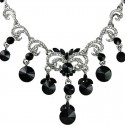 Black Rhinestone Wave Waterfall Cascade Statement Dress Necklace