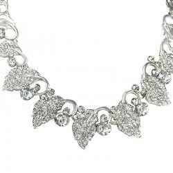 Bridal Costume Jewellery, Fashion Wedding Gift, Clear Diamante Silver Leaf Forest Dress Necklace