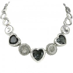 Bridal Costume Jewellery, Fashion Wedding Gift, Smoky Grey Heart Rhinestone Clear Diamante Dressy Necklace